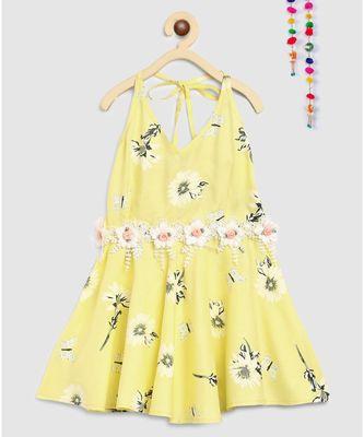 yellow rayon printed knee length dress