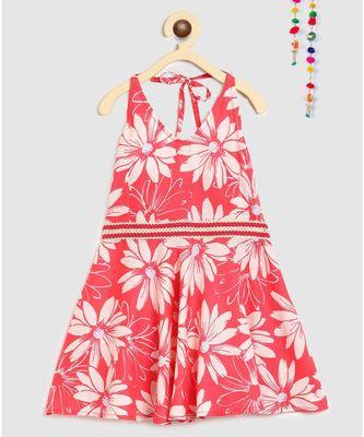 pink rayon printed knee length dress