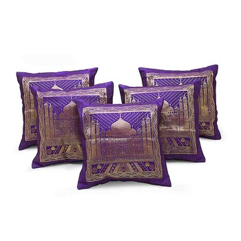 Designer Brocade Tajmahal 5 Pc. Cushion Covers Set
