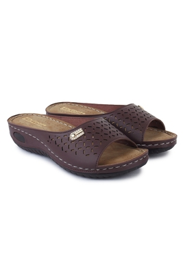 Beautiful Brown color synthetic material flats for women