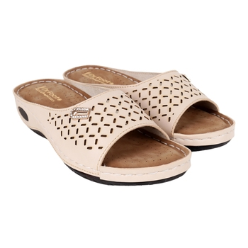 Beautiful Cream color synthetic material flats for women