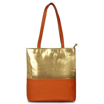 Vegan Leather Gold tan Tote Bag