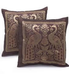 Peacock Design Brocade 2 Pc. Cushion Covers Set