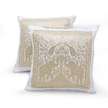 Dual Peacocks N Elephants 2 Pc. Cushion Covers Set