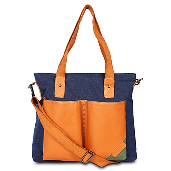 Unisex Canvas & faux Leather Sholder Hand bags Cum messenger bag
