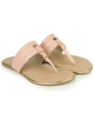 Beautiful Pink color synthetic material flats for womens