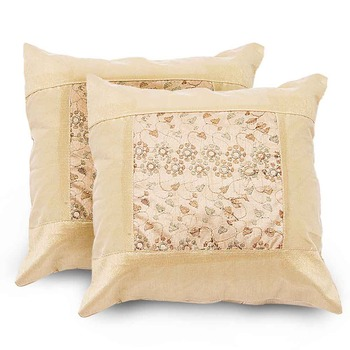 Zari Embroidered Booti 2 Pc. Cushion Covers Set