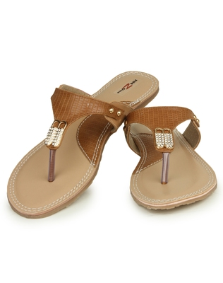 Beautiful Tan color synthetic material flats for womens