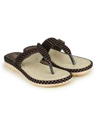 Beautiful Brown color synthetic material flats for womens