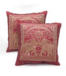 Dual Elephant Design 2 Pc Maroon Cushion Cover Set