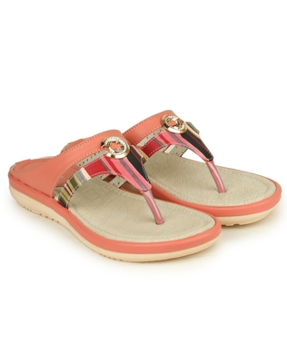 Beautiful Peach color synthetic material flats for womens