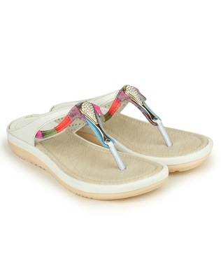 Beautiful White color synthetic material flats for womens