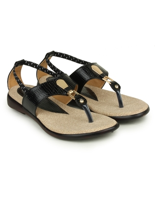 Beautiful Black color synthetic material flats for womens