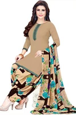 Brown Printed Crepe Salwar Unstitched