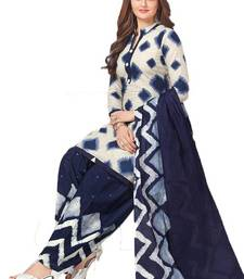 White Printed Crepe Salwar With Dupatta Unstitched