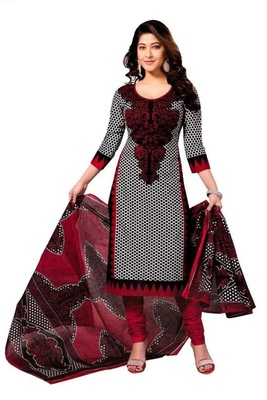 White Red Printed Crepe Salwar Unstitched
