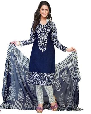 BLUE PRINTED CREPE SALWAR UNSTITCHED