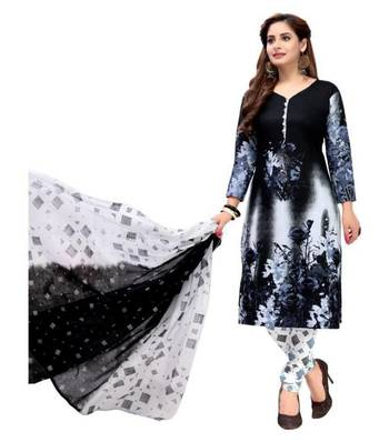 BLACK PRINTED CREPE SALWAR UNSTITCHED