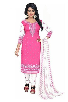 PINK PRINTED CREPE SALWAR WITH DUPPATA UNSTITCHED