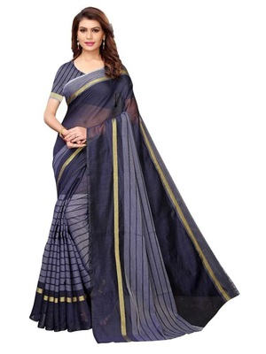 dark blue striped print cotton saree with blouse