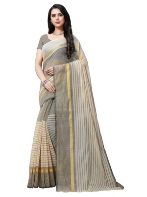 grey striped print cotton saree with blouse