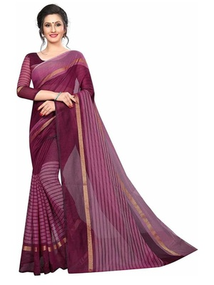Maroon striped print cotton saree with blouse