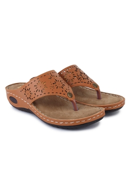 Beautiful Tan color synthetic material flats for women