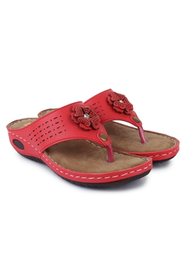 Beautiful Red color synthetic material flats for women