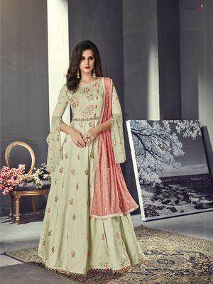 Light green multi resham work silk salwar
