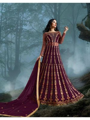 Purple multi resham work net salwar