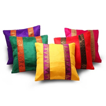 Brocade Striped Assorted 5 Pc. Cushion Covers Set