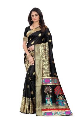 Black woven jacquard saree with blouse