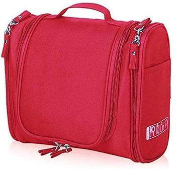 Red Hanging Waterproof Travel Cosmetic Bag Oxford Matty Set Of 1 PcsPouch Large Capacity
