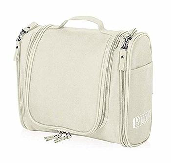 White Hanging Waterproof Travel Cosmetic Bag Oxford Matty Set Of 1 Pcs Pouch Large Capacity
