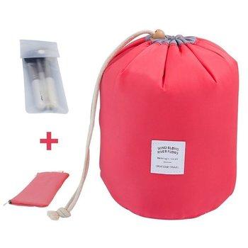 Red Round Pouch Bucket Barrel Shaped Cosmetic Bag Big Size Nylon Matty Set Of 1 Pcs