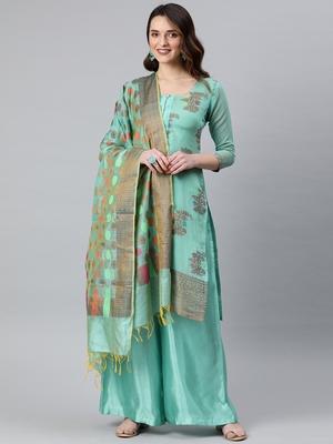 Turquoise weaved banarasi silk salwar