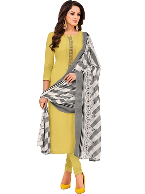 Yellow Embroidered Chanderi Silk Salwar