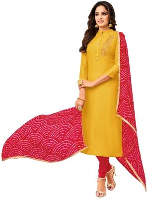 Yellow embroidered chanderi silk salwar