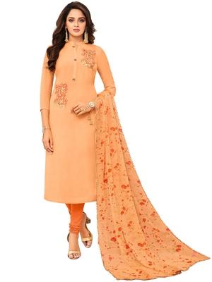 Light-Orange Embroidered Chanderi Silk Salwar