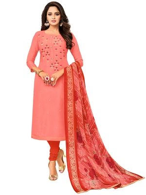 Peach Embroidered Chanderi Silk Salwar