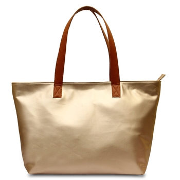 Women Leather Office Tote Bag in GoldenColor