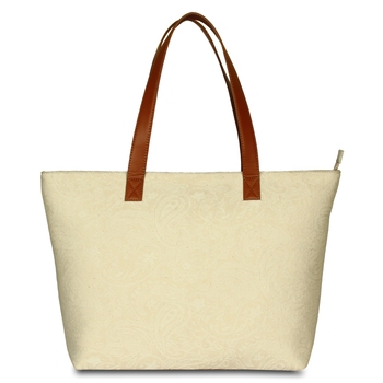 Women Canvas Jacquard Tote Bags in off -White Color