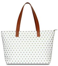 Women Canvas Office Tote Bag in Polka Dots Print