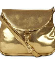Women Canvas Sling Bag Golden Color