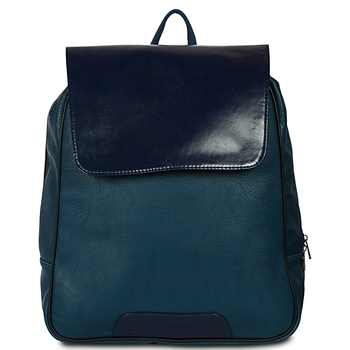 Women Leather Backpack for Laptop in green and blue Color