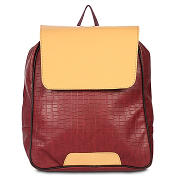 Women's Leather Backpack for Laptop with Crock Print in maroon