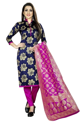 navy blue woven brocade unstitched salwar with dupatta
