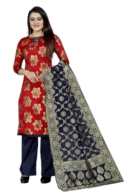 red woven brocade unstitched salwar with dupatta