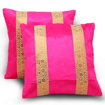 Paisley Design Stripes 2Pc Pink Cushion Covers Set