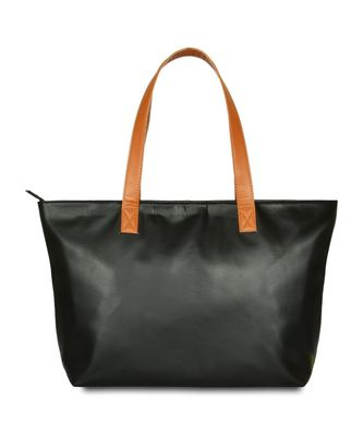 Women Leather Office Tote Bag in Black Color